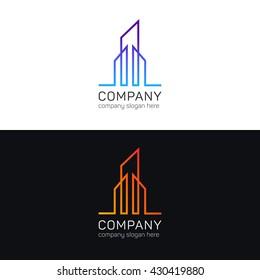 Minimalistic lines art company office logo sign icon. Logotype vector design