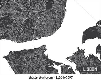 Minimalistic Lisbon city map poster design.
