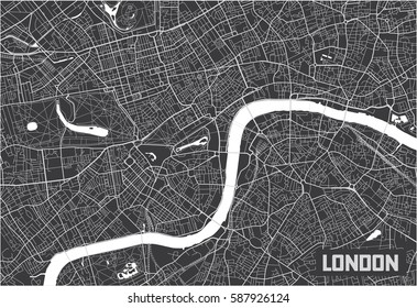 Minimalistic London city map poster design.