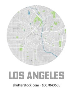 Minimalistic Los Angeles city map icon.