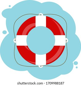 minimalistic marine lifebuoy to use. isolated illustration