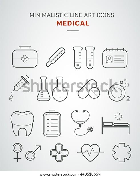 Minimalistic medical line art icons set.