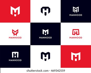 Minimalistic MH Logo Collection. Smart Mark Set of letter M and H in modern flat style. Vector graphic design elements for your company logotype. Male sign for business card
