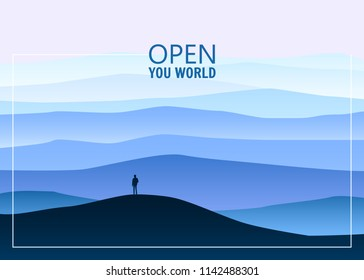 Minimalistic mountain landscape, open your world, lonely explorer, horizon, perspective, vector, illustration, isolated, cartoon style