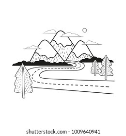 Minimalistic mountain landscape with road and trees. Black and white vector illustration.