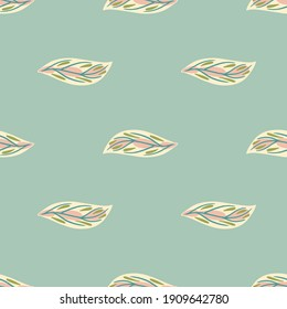 Minimalistic nature seamless pattern with white colored doodle leaf shapes. Blue pastel background. Designed for fabric design, textile print, wrapping, cover. Vector illustration