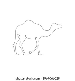 Minimalistic One Line Camel Icon. Line drawing animal tattoo. Arabic Camel one line hand drawing. Free single line drawing of camel continuous art print, Vector Illustration