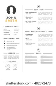 Minimalistic personal vector resume - cv template