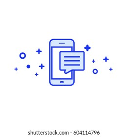 Minimalistic phone with bubble flat illustration