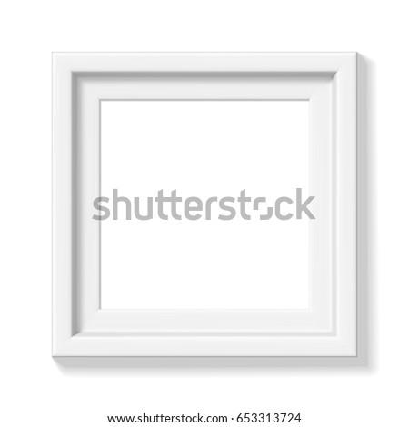 Minimalistic Photorealistic White Square Picture Frame Stock Vector ...