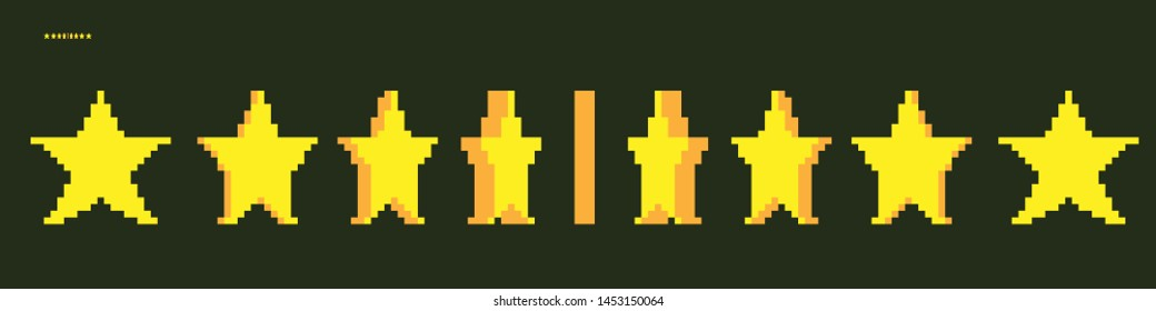 Minimalistic pixel graphic symbol of Star. Art vector object isolated. Game 8 bit style.