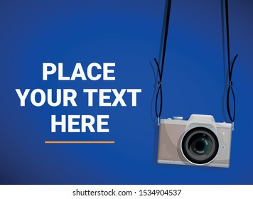 Minimalistic poster with compact camera and place for your text
