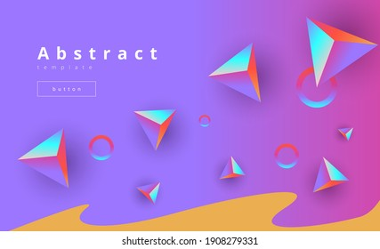 minimalistic purple vector background with volumetric rainbow polygons and circles