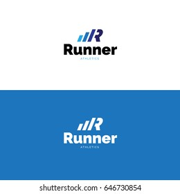 Minimalistic R letter sports logo. Vector dynamic sport apparel symbol
