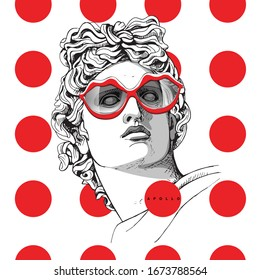 Minimalistic red collage. Apollo Plaster head statue in a fun lips glasses on a polka dots background. Hymor poster, t-shirt composition, hand drawn style print. Vector illustration.
