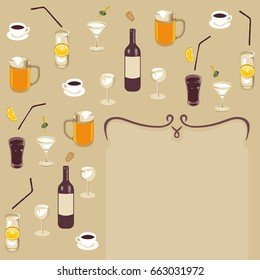 minimalistic retro art deco style illustration with place for text and various drinks like wine beer coffee cocktail water and fizzy drinks