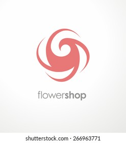Minimalistic rose symbol. Unique logo design template for flower shop, cosmetic and beauty salon or spa center.