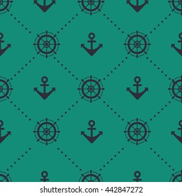 Minimalistic sea style seamless vector pattern with anchors