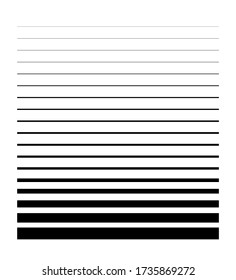 Minimalistic set with black line thickness on halftone white background. Flat vector.
