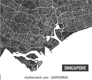 Minimalistic Singapore city map poster design.