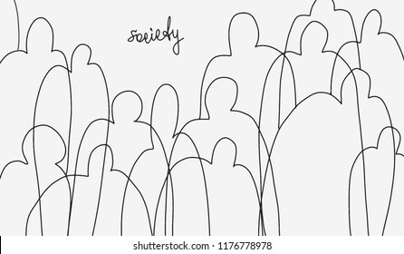 Minimalistic sketch on theme of society. Idea of facelessness of the crowd. Concept of loss of personality in mass. Use as social advertising, banner, poster, icon, logo. Vector isolated curl lines