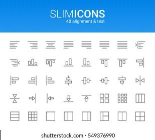 Minimalistic Slim Line Alignment & Text Vector Icons