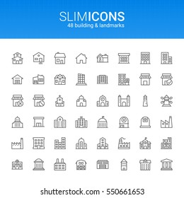 Minimalistic Slim Line Building & Landmarks Vector Icons