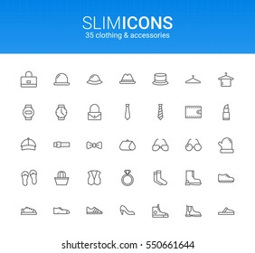 Minimalistic Slim Line Clothing & Accessories Vector Icons