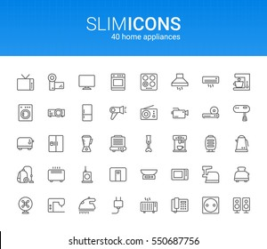 Minimalistic Slim Line Home Appliances Vector Icons