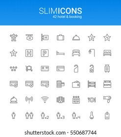 Minimalistic Slim Line Hotel & Booking Vector Icons