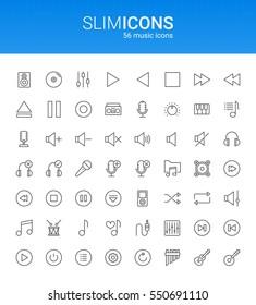 Minimalistic Slim Line Music & Sound Vector Icons