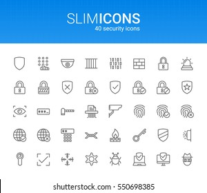 Minimalistic Slim Line Security Vector Icons