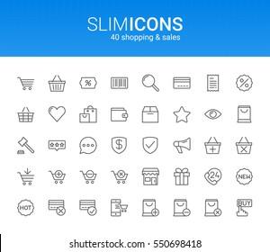 Minimalistic Slim Line Shopping & Sales Vector Icons