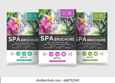 Minimalistic spa and healthcare design brochure. Modern template for brochure, poster, flyer, gift voucher and web