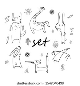minimalistic strange vector animals in scandinavian style hand-drawn on a white background,black and white. Hare, giraffe, wolf, fox, crow, goats, rabbit, bird, fish, elements, sun, zigzag, black line