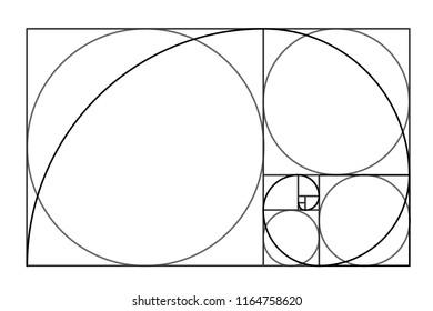 Minimalistic style design. Golden ratio. Geometric shapes. Circles in golden proportion. Futuristic design. Logo. Vector icon .