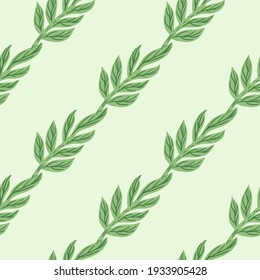Minimalistic style herbal seamless pattern with simple diagonal leaf branches ornament. Light background. Designed for fabric design, textile print, wrapping, cover. Vector illustration.