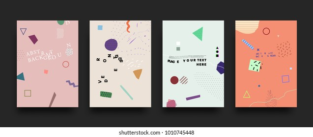 Minimalistic style posters and placards covers set | Geometric elements and patterns for futuristic background design | Vector illustration
