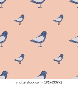 Minimalistic style seamless pattern with blue colored dove birds shapes. Pink pale background. Vector illustration for seasonal textile prints, fabric, banners, backdrops and wallpapers.