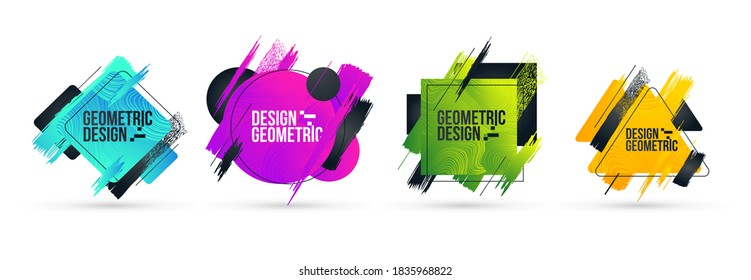 Minimalistic stylish geometry with brush strokes hipster colored frame design. Vector line gradient halftone. frame for text Modern Art graphics. vector illustration