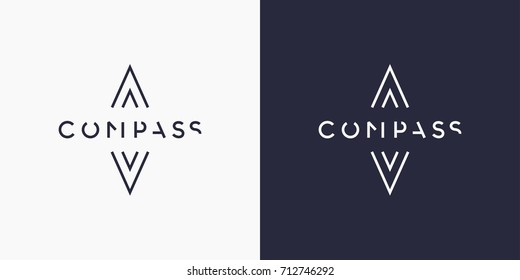 Minimalistic and stylish logo Compass. Modern typography and identity for your company.