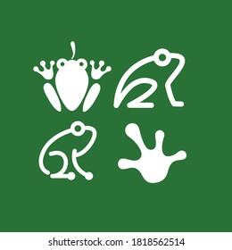Minimalistic stylized cartoon frog logo. Line icon and colored version, front view and profile. Simple frog or toad vector illustration set