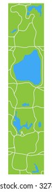 Minimalistic stylized map of Central Park New York showing lakes and main transitions.