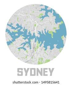Minimalistic Sydney city map icon.