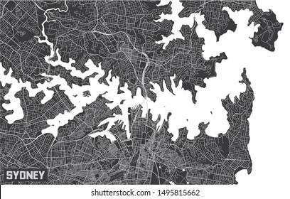 Minimalistic Sydney city map poster design.