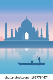 Minimalistic taj mahal vector design in blue color with a boat in still water in the front