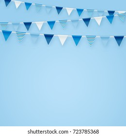 Minimalistic Tender Blue Vector Background With Party Flags Buntings Perfect For Kids Birthday Greeting Invitation Cards