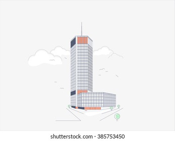 "Minimalistic thin line illustration of skyscraper ""Beogradjanka"""