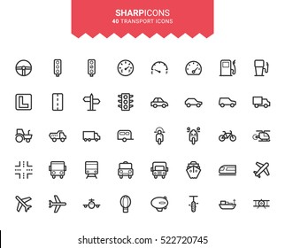 Minimalistic Thin Line Transport Sharp Vector Icons