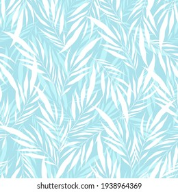 Minimalistic transparent white leaves palm tree on light blue backdrop. Vintage exotic collage tropical plants seamless pattern. Contemporary vector decoration art. Tropic chaos Modern illustration.